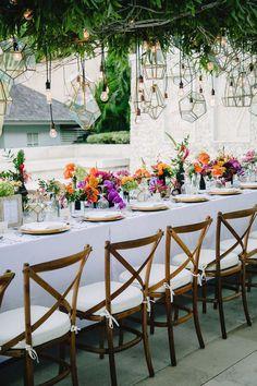 Vibrant Bali Wedding with a Hanging Botanical Installation ⋆ Ruffled Reception Design, Wedding Reception Decorations, Wedding Centerpieces, Wedding Table, Rustic Wedding, Wedding Ideas, Budget Wedding, Nautical Wedding, Wedding Couples