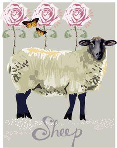 Nursery Art Sheep Print 8 x 10 Custom Color