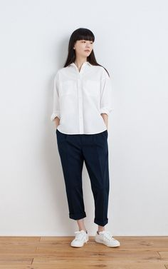 MUJI | OGC WASHED WIDE SHIRT | WATER REPELLENT ORGANIC COTTON SNEAKERS