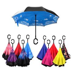 Double Layer Inverted Inverted Umbrella Is Light And Sturdy Cute Cartoon Moon Background Cheerful Funny Reverse Umbrella And Windproof Umbrella Edge