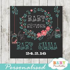 Floral Wreath Custom Mason Jar Labels, Coral & Green. They can be printed on cardstock or sticker paper for a variety of uses including Favor Tags, Gift Bag Tags, stickers labels and more! #babyprintables