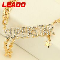 LEADO new 2014 brand fashion gold plated created diamond letter necklaces pendants jewelry for women girl accessories gift LJ014