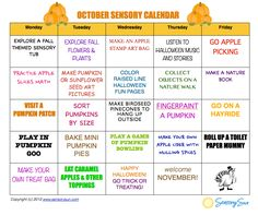Fall is here! A full calendar of sensory based ideas for every weekday in October!  #SensorySun