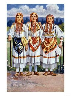 Postcard Depicting Women in Croatian National Dress, 1917      art.com