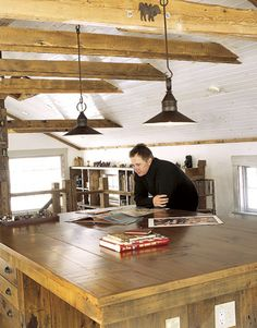 Children's book writer and illustrator, Lane Smith, has a studio in a barn filled with books