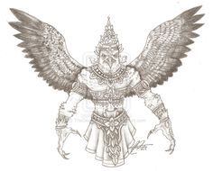 Garuda - by TheDearGrandson Cambodian Tattoo, Hanuman Tattoo, World Mythology, Sak Yant Tattoo, Thailand Tattoo, Goddess Tattoo, Indonesian Art, Thai Tattoo, Tibetan Art