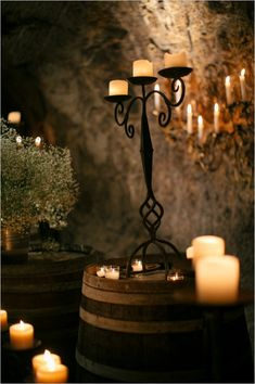candlelit wine cellar wedding reception