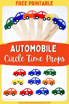 Get your toddlers and preschoolers engaged during the transportation circle time with these free car props. A fun way to work on color and number recognition, too! #transportation #cars #printable #prop #circletime #colors #numbers #teachers #classroom #toddlers #preschool #2yearolds #3yearolds #teaching2and3yearolds Circle Time Activities, Counting Activities, Hands On Activities, Songs For Toddlers, Lesson Plans For Toddlers, Toddler Preschool, Toddler Activities, Toddler Circle Time, Transportation Preschool Activities