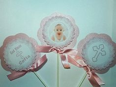 Girl Baptism Centerpieces  Christening by APartyWithPaper on Etsy, $15.00