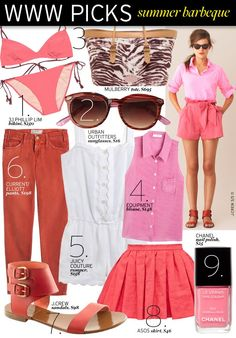 pink summer looks Bbq Outfits, Summer Barbeque, Backyard Barbeque, Equipment Blouse, Urban Outfitters Sunglasses, Asos Skirts, Warm Weather Outfits, Pink Summer, Summer Time