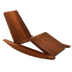 View this item and discover similar rocking chairs for sale at - A rocking lounge chair carved from solid salvaged Ipe wood beams by Zanini de Zanine. Zanine continues in the tradition of his father, noted Brazilian Cheap Patio Furniture, Cool Furniture, Furniture Design, Wood Projects, Woodworking Projects, Rocking Chairs For Sale, Pouf Chair, Swivel Chair, Ipe Wood