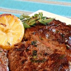 Pan Fried Lemon Garlic Rib Eye Steaks