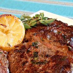 dinner, fri lemon, rib eye, pan fri, steaks, food, garlic rib, eyes, eye steak