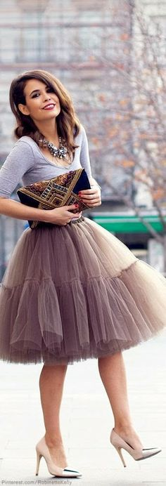 Chic In The City- Coffee tulle skirt - LadyLuxury