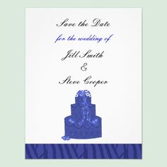 Royal Blue Wedding Cake Save the Date