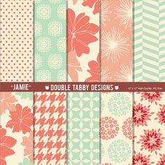 Digital paper pack scrapbook INSTANT by DoubleTabbyDesigns on Etsy, $3.75
