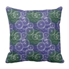 Riding my Bicycle - green and blue repeat pattern Throw Pillow - pattern sample design template diy cyo customize