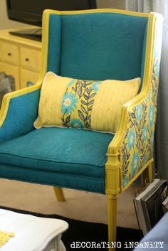 Great Style Chair To Use 2 Fabrics Wood Finish Adds To The Impact.