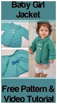 Baby Girl Jacket – Free crochet Pattern - Crochet/knitting - Baby Girl Jacket – Free crochet Pattern baby girl jacket pin it Crochet Baby Cardigan Free Pattern, Crochet Baby Blanket Beginner, Crochet Baby Jacket, Crochet Baby Sweaters, Baby Girl Sweaters, Crochet Coat, Crochet Bebe, Crochet Baby Clothes, Free Crochet