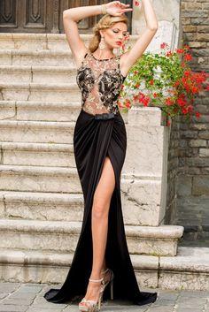 Aliexpress.com: Comprar Nuevo año 2015 sexy negro longitud del piso vestido de baile vestidos de noche ahueca hacia fuera el encaje bordado Mesh Wrap vestido Maxi LC6839 vestido noite de vestidos de corea fiable proveedores en Love & Beauty Store