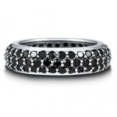 Sterling Silver Black Cubic Zirconia CZ Eternity Band Ring