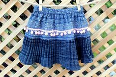 Little Girls Ethnic Hmong Skirt Indigo Batik by SiameseDreamDesign, $28.00
