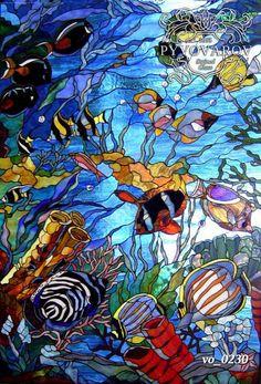 Pintura manchado acuario de vidrio de estilo Tiffany