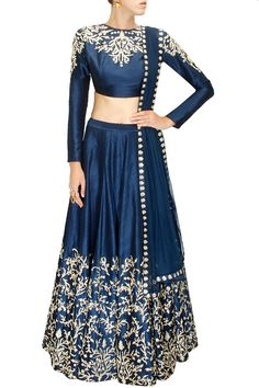 Navy blue pitta and zardosi embroidered lehenga set by SVA.