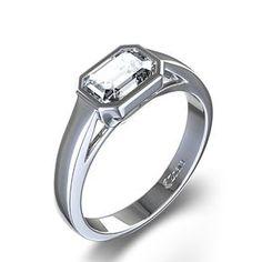 THIS IS IT!! 1 ctw Bezel Set Emerald Cut Diamond Engagement Ring in Palladium or Platinum.. THIS IS IT!!!!!!!!