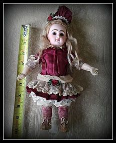 Petite French Bisque Bebe Jumeau Size 1 Excellent Rare 9.5 Inches (item #1287246)