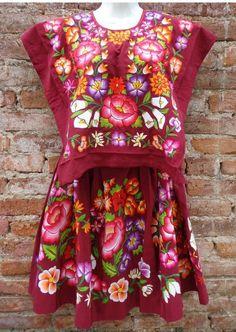 México Vestido de Tehuana Huipil Vintage Frida Kahlo estilo