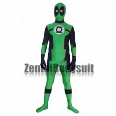 This suit is combine the design of Green Lantern and Deadpool, both them are popular superhero, I think you will like. The eyes are made of white spandex fabric. The zipper is on the back to put on/off. Deadpool, Halloween Party, Halloween Costumes, White Spandex, Zentai Suit, Bodysuit, Anime Costumes, Super Hero Costumes, Catsuit