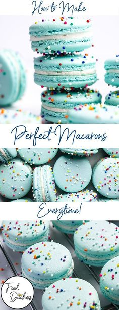 This easy step-by-step guide on How to Make Macarons, will have you well on your. , This easy step-by-step guide on How to Make Macarons, will have you well on your way to becoming a macaron master! I compiled these tips and tricks fr. French Macaroon Recipes, French Macaroons, Easy Desserts, Delicious Desserts, Dessert Recipes, How To Make Macaroons, Making Macarons, Macarons Easy, Easy Macaron Recipe