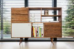 Buffet haut Stockholm - design scandinave - Un meuble de rangement tout en bois, aux lignes typiquement 50's