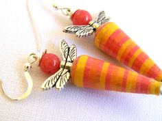 Paper Bead Jewelry - Dragonfly Earrings Dragonflies - #170 by BeadAmigas on Etsy https://www.etsy.com/listing/167507638/paper-bead-jewelry-dragonfly-earrings