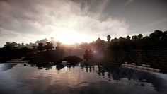 Minecraft Shaders, Minecraft Posters, Photographic Prints, River, Celestial, Sunset, Outdoor, Outdoors, Sunsets