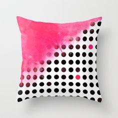 Bold Pink Polka Dots Throw Pillow by cafelab - $20.00