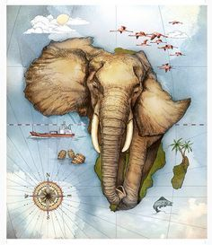 We worked with Jupiter Drawing Room in Johannesburg to create an illustrated calendar for PPC, the leading supplier of cement in Southern Africa. We illustrated a series of maps for 6 African countries, depicting each one's landmarks and wildlife. African Elephant, African Safari, Elephant Afrique, Afrika Tattoos, Africa Drawing, Elefante Tattoo, African Map, Map Tattoos, Afro Art