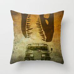 Jurassic Park Minimal Poster Throw Pillow by Ed Burczyk - $20.00