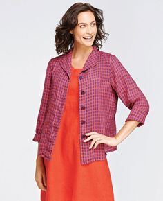 FLAX Design's FLAX Bold 2015 Shapely Jacket at Fg Clothing is on sale. #FLAXdesign women's linen button up jacket
