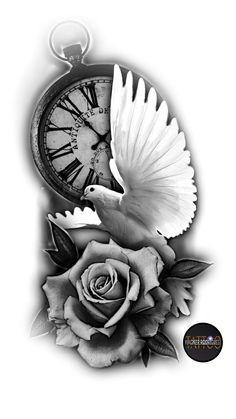 Time Clock Tattoo, Clock And Rose Tattoo, Clock Tattoo Sleeve, Dove And Rose Tattoo, Clock Tattoos, Skull Rose Tattoos, Rose Tattoos For Men, Dove Tattoos, Dove Tattoo Design