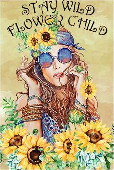 Hippie Art, Hippie Love, Hippie Style, Bohemian Art, Yoga Studio Design, Beatles, Sunflower Pictures, Kids Poster, Stay Wild