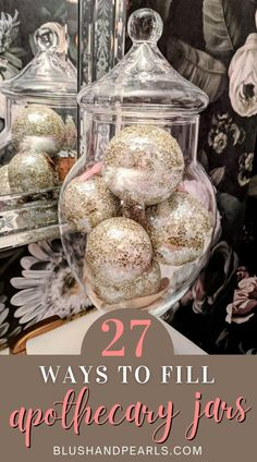Apothecary Jars Kitchen, Apothecary Decor, Kitchen Jars, Kitchen Decor, Bathroom Jars, Bathrooms, Jar Fillers, Decorated Jars, Makeup Organization