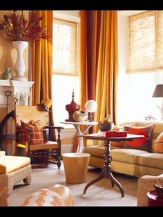 Dark Yellow, Muted Red, and a hint of Orange make this a warm and Handsome Room. Proving Yellow CAN be a Masculine Color.