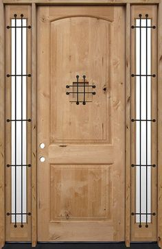 Discount Tall Rustic Knotty Alder Wood Door Unit with Sidelites