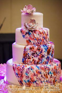 Paint splattered wedding cake #wedding #cake #Michiganwedding #Chicagowedding #MikeStaffProductions #wedding #reception #weddingphotography #weddingdj #weddingvideography #wedding #photos #wedding #pictures #ideas #planning #DJ #photography
