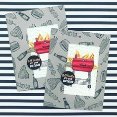 """Holly Stene on Instagram: """"Got a break from my @illmakedessert business yesterday and had a chance to stamp! Love this Outdoor Barbecue stamp set from #stampinup - a…"""" Guy Birthday, It's Your Birthday, Masculine Birthday Cards, Masculine Cards, Outdoor Barbeque, Barbecue, Traeger Bbq, Bbq Set, Card Maker"""