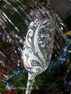 Декор предметов 8 марта День рождения Рождество Свадьба Витраж Роспись Фужеры  бокалы Стекло фото 25