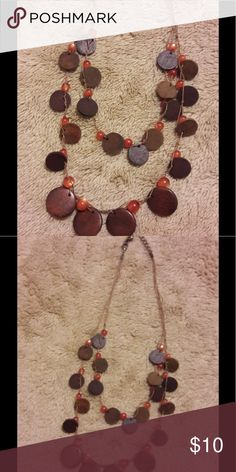 Bead and wood necklace. Two layer wood and bead necklace. Jewelry Necklaces