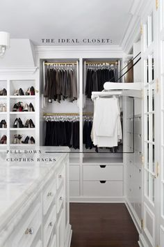 #closet The ideal closet definitely has this feature! The pull-out rack--for easy reaching of top clothes racks!
